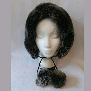 Holt Renfrew Faux Fur Hat Pompoms Fleece Lining